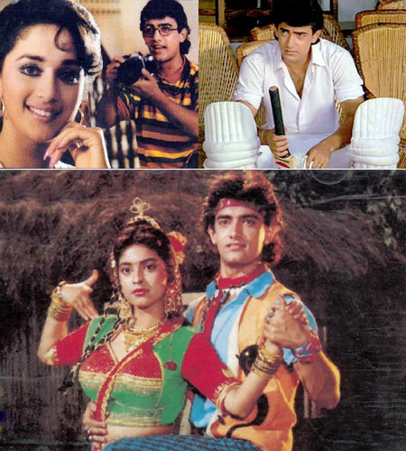 Aamir Khan in (clockwise from the top): Deewana Mujhsa Nahi, Awwal Number and Tum Mere Ho