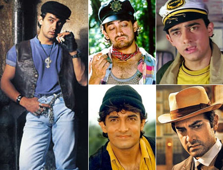 Aamir Khan in (clockwise from left): Ghulam, Rangeela, Dil Hai Ki Manta Nahi, Luck By Chance and Raja Hindustani