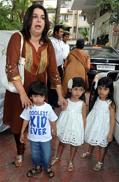 Farah Khan with her children, Czar, Diva and Anya