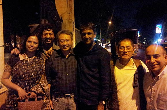 Irrfan with wife Sutapa, Ang Lee, Adil Hussain and Lee's friends