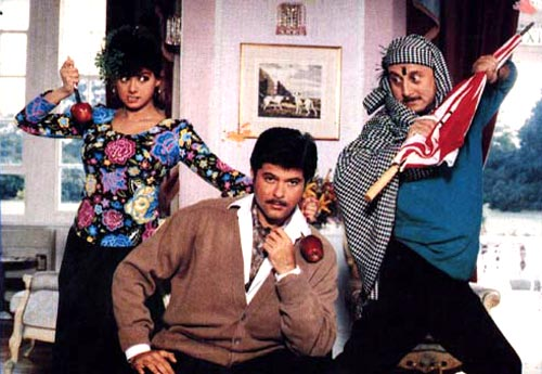 Sridevi, Anil Kapoor and Anupam Kher in Lamhe