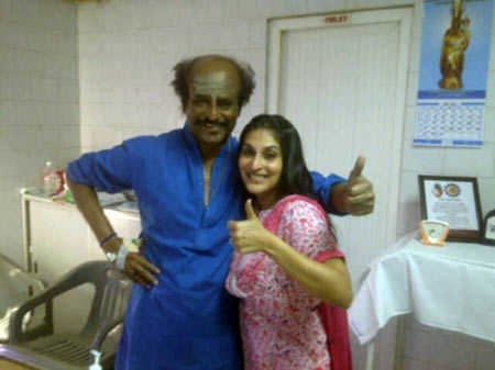 Rajinikanth with daughter Aishwarya