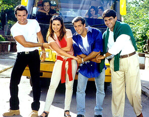 Saif Ali Khan, Neelam, Salman Khan and Monish Bahl in Hum Saath Saath Hain