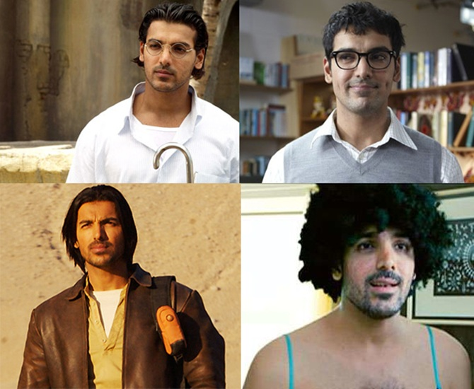 Clockwise from top: John Abraham in Water, Jhootha Hi Sahi, Saat Khoon Maaf and Kabul Express