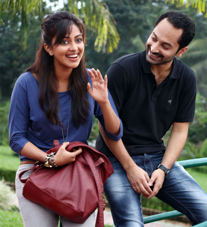 Fahadh Faasil and Amala Paul in Oru Indian Pranayakatha