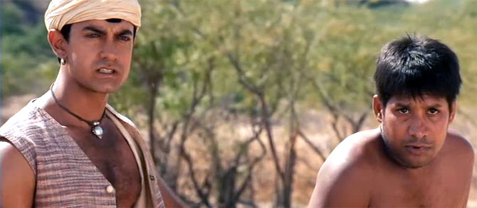 Aamir Khan (left) in Lagaan