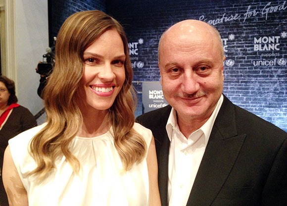 Hilary Swank and Anupam Kher