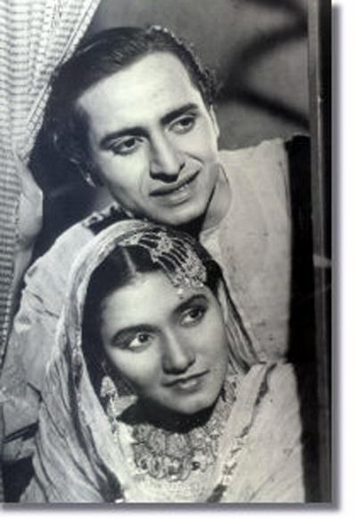 Pran and Noorjehan in Khandaan (1942)