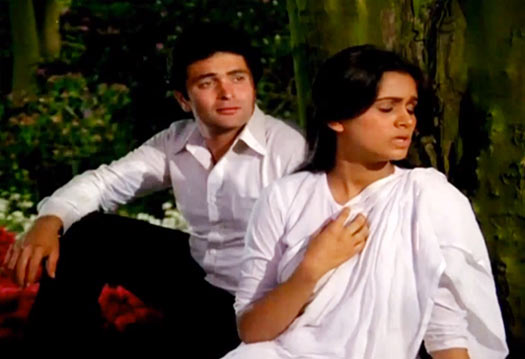 Rishi Kapoor with Padmini Kolhapure in Prem Rog