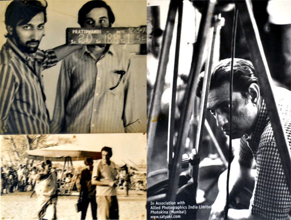 Clockwise: Tinnu Anand with Dhritiman Chatterjee on the sets of Pratidwandi, Satyajit Ray, Simi Garewal with Tinnu Anand and Satyajit Ray on the sets of Aranyer Din Ratri.