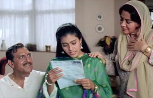 Amrish Puri, Kajol and Farida Jalal in Dilwale Dulhania Le Jayenge