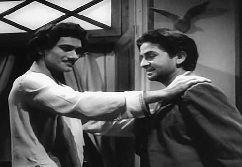 Prem Nath and Raj Kapoor in Aag