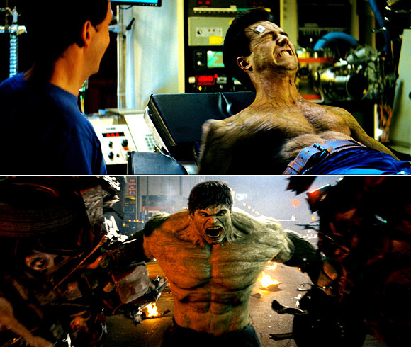 A scene from Incredible Hulk before and after visual effects