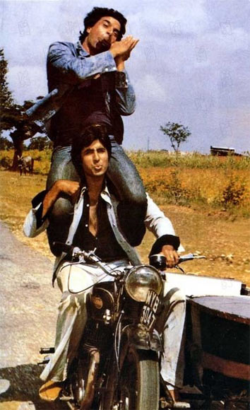 Dharmendra and Amitabh Bachchan in one of Hindi cinema's best-known sequences