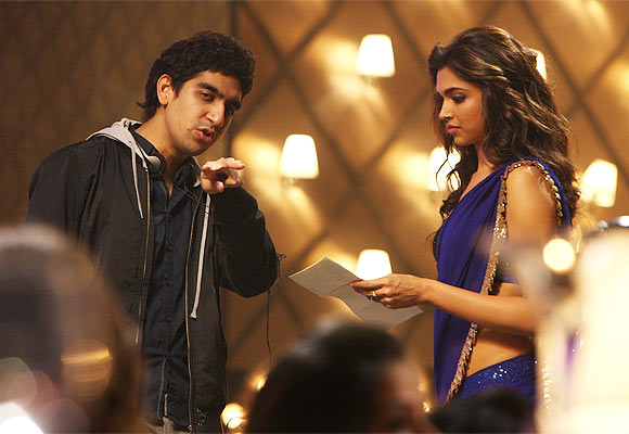 Ayan Mukherjee and Deepika Padukone on the sets of Yeh Jawaani Hai Deewani