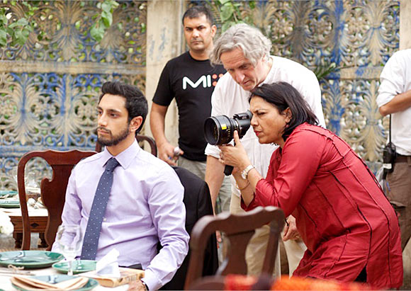 Riz Ahmed and Mira Nair on the sets of The Reluctant Fundamentalist