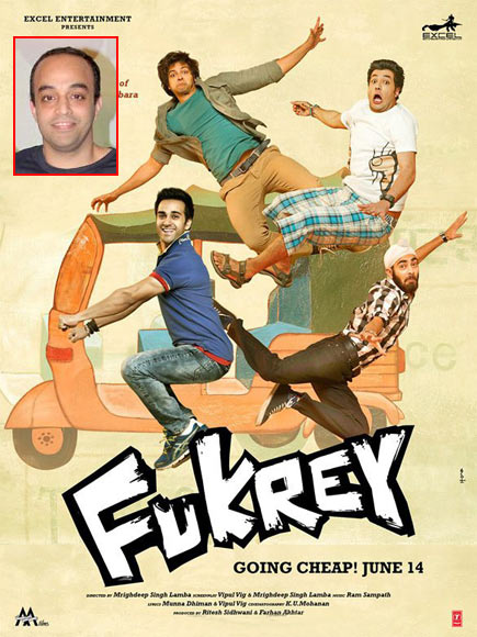 Movie poster of Fukrey. Inset: Mrigdeep Singh Lamba