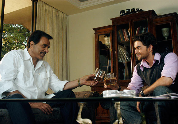 Dharmendra and Neil Nitin Mukesh in Johnny Gaddaar