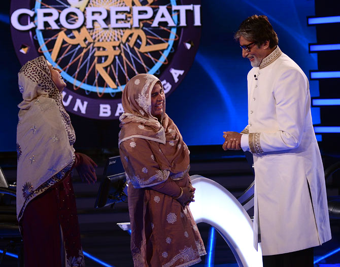 Firoz Fatma with mother Fareeda Parveen Jehan and Amitabh Bachchan.
