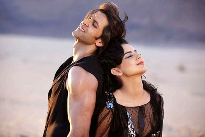 Kangna Rananut and Hrithik Roshan in Krrish 3