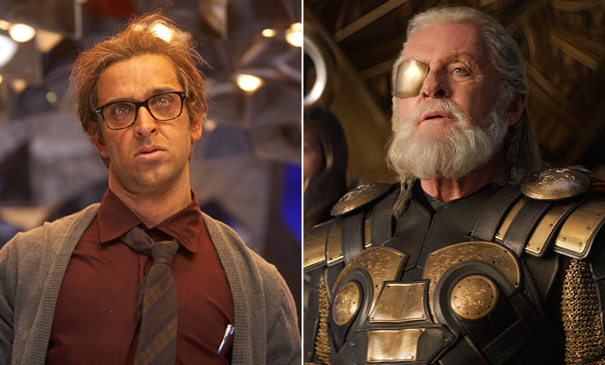 Hrithik Roshan as Rohit and Anthony Hopkins as Odin