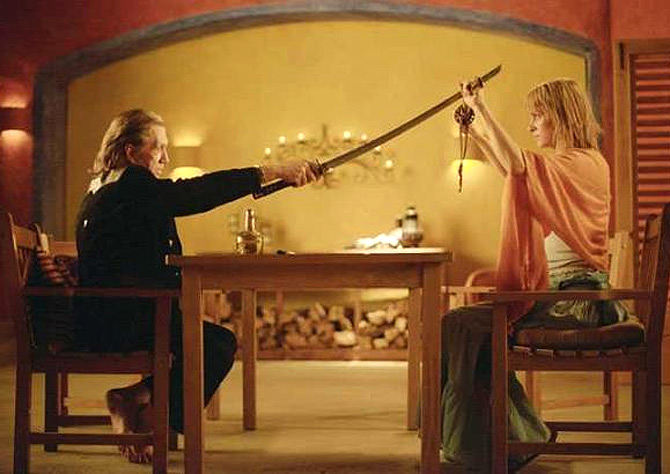 David Carradine and Uma Thurman in Kill Bill