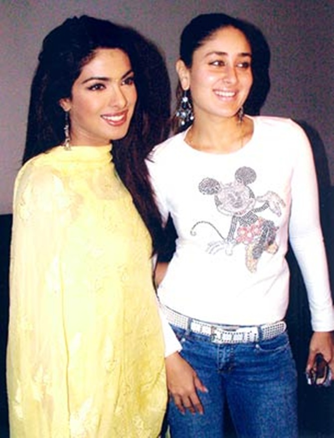 Kareena Kapoor with Aitraaz costar Priyanka Chopra