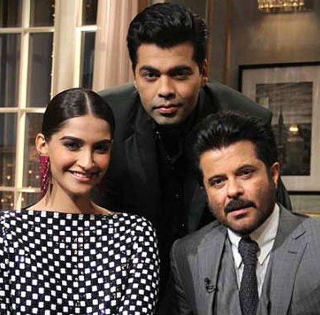 Sonam and Anil Kapoor with Karan Johar on Koffee With Karan