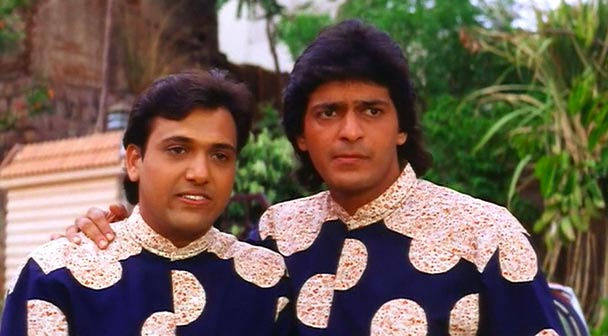 Govinda and Chunkey Pandey in Aankhen