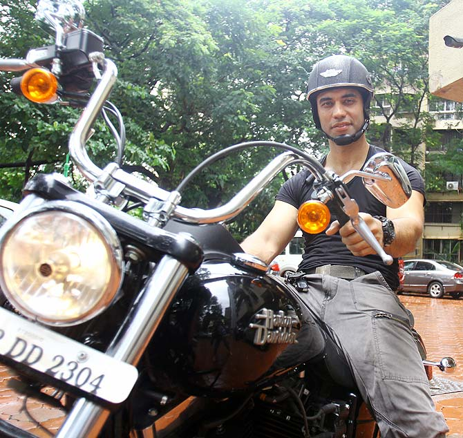 Kushal Punjabi on his bike