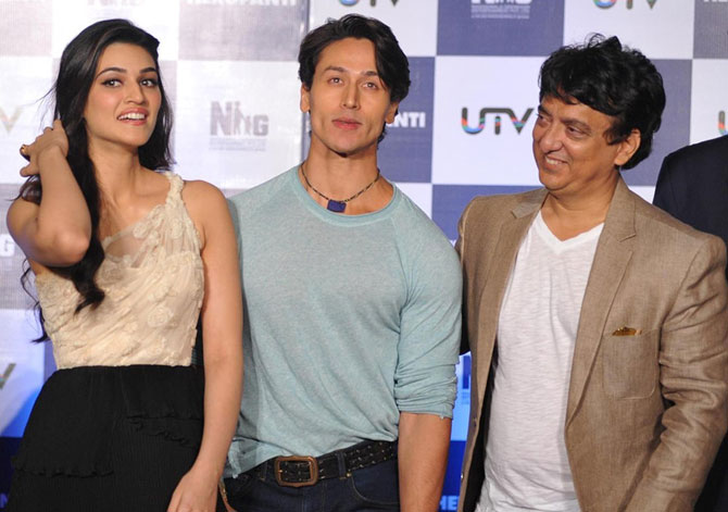 Tiger Shroff with Sajid Nadiadwala and Kriti Sanon