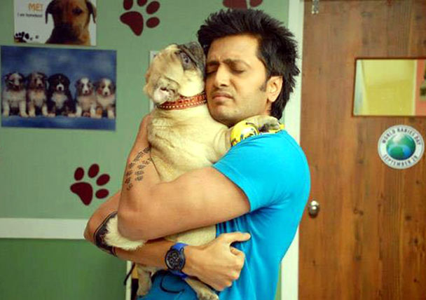 Riteish Deshumukh with Sackru the dog in Kya Super Cool Hain Hum