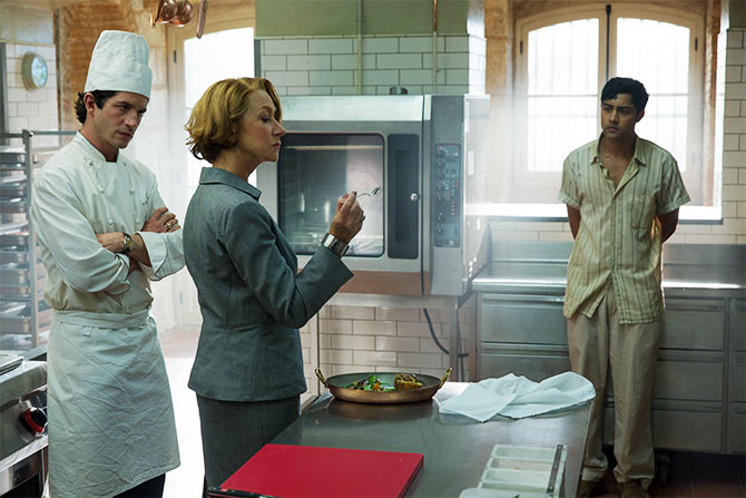 Manish Dayal, right, and Helen Mirren in The Hundred-Foot Journey.