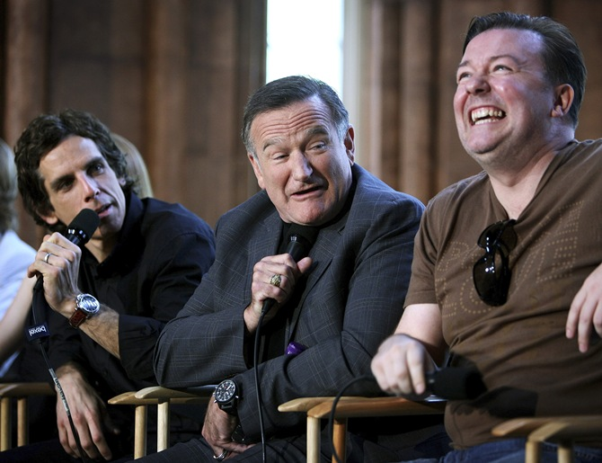 Robin Williams with Ben Stiller and Ricky Gervais