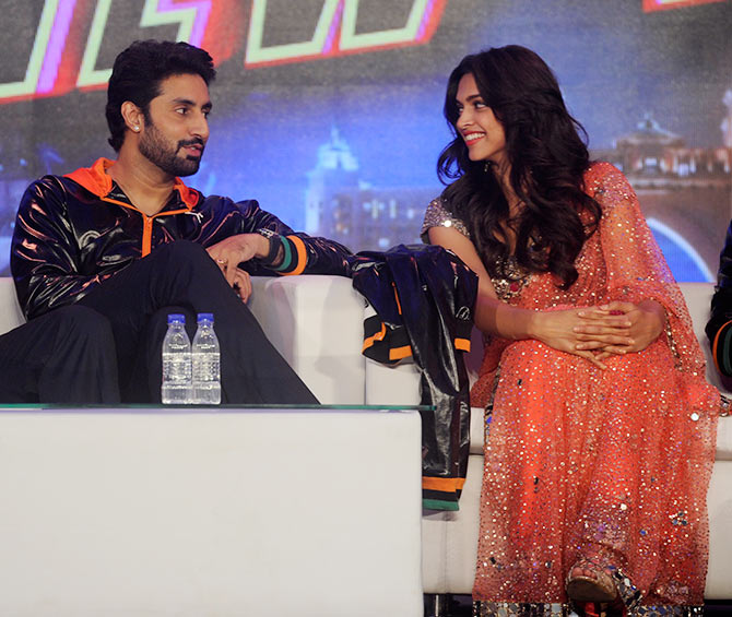 Abhishek Bachchan and Deepika Padukone at the trailer launch of Happy New Year