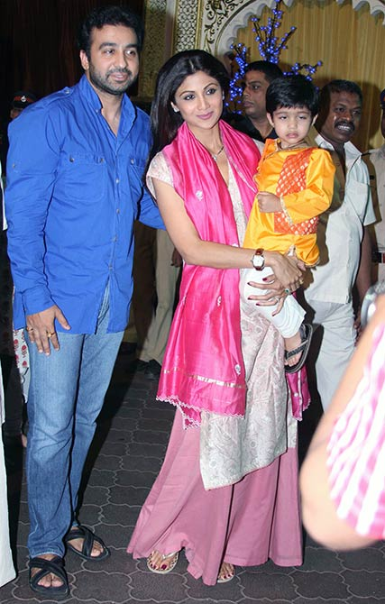 Shilpa Shetty and Raj Kundra with their son Viaan.