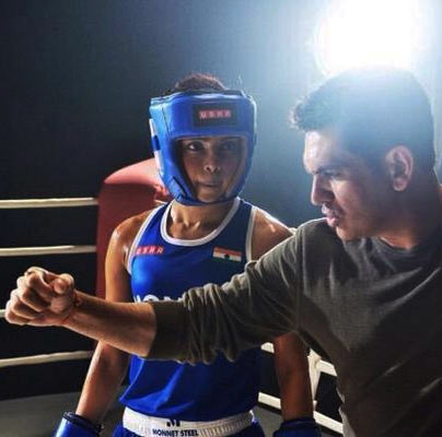 Priyanka Chopra and Omung Kumar on the sets of Mary Kom