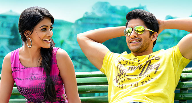 Pooja Hegde and Naga Chaitanya in Oka Laila Kosam