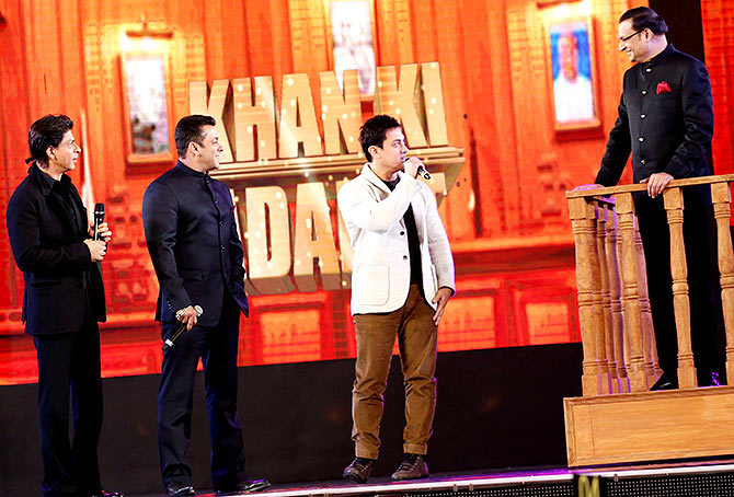 Shah Rukh, Salman and Aamir Khan with Rajat Sharma