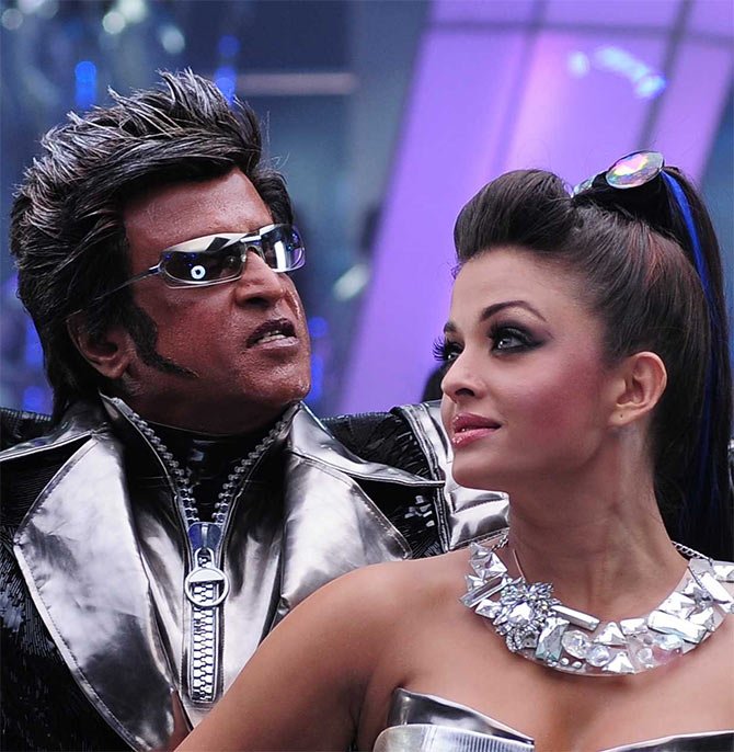 Rajinikanth and Aishwarya Rai Bachchan in Enthiran