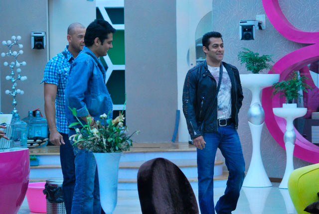 Andrew Symonds, Amar Upadhyay and Salman Khan in Bigg Boss