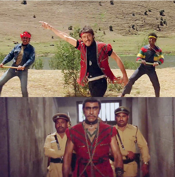 Top: Jackie Shroff. Bottom: Amrish Puri in Hero