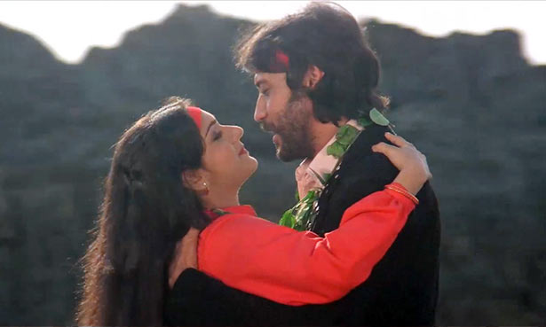Meenakshi Seshadri and Jackie Shroff in Hero