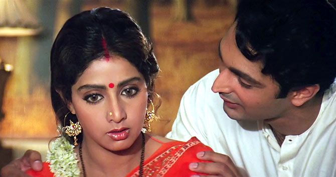 Sridevi and Deepak Malhotra in Lamhe