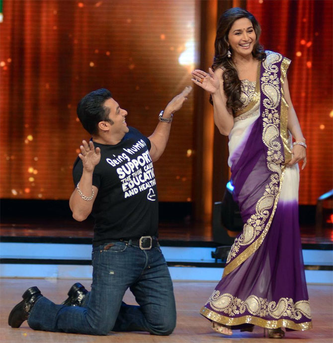Salman Khan and Madhuri Dixit on the sets of Jhalak Dikhla Jaa