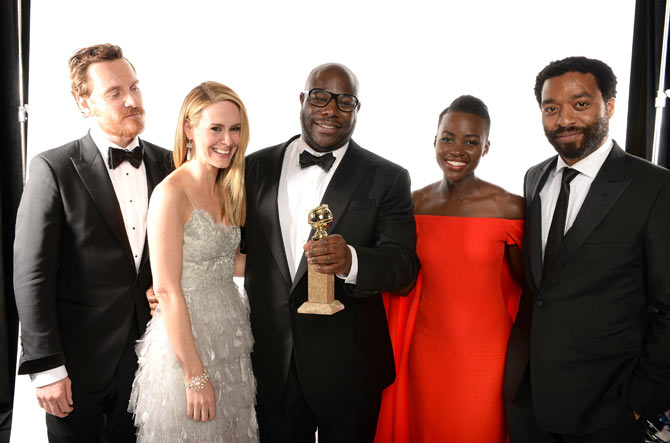 Actors Michael Fassbender, Sarah Paulson, director Steve McQueen, Lupita Nyong'o and Chiwetel Ejiofor, winners of Best Picture for 12 Years a Slave