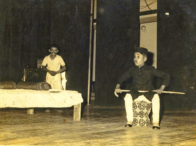 Alok Nath in a play, as a child.