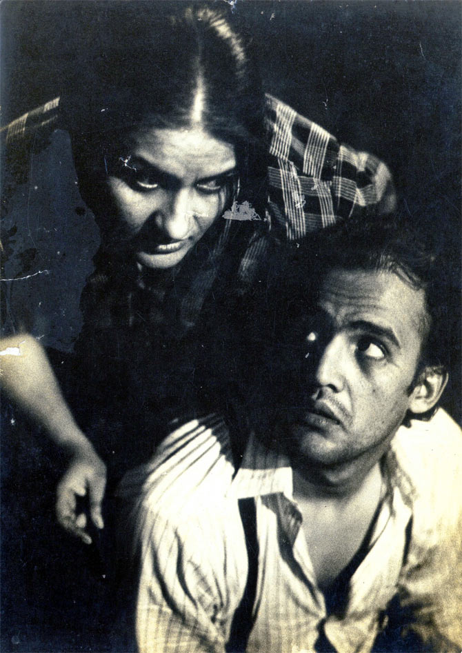Alok Nath, right, and Nadira Zaheer Babbar in A View From The Bridge, Arthur Miller's play, staged at Mumbai's Prithvi Theatre.