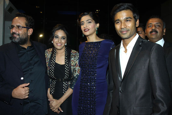 Director Anand L Rai with actors Swara Bhaskar, Sonam Kapoor and Dhanush