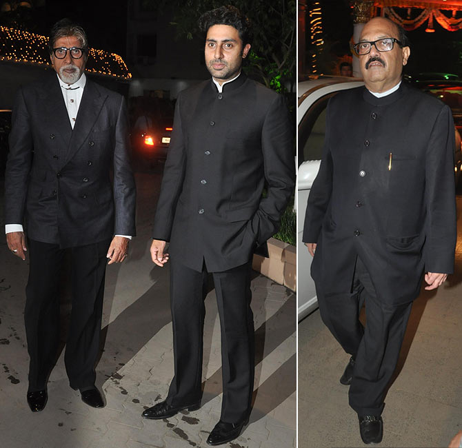 Amitabh and Abhishek Bachchan, and Amar Singh